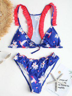 Vorne Schnürung Blumen Racerback Bikini Set - Königlich Blau S