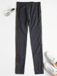 High Waisted Nice Graphic Sports Leggings - Gray M