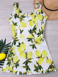 Vestido Con Estampado De Limón Y Espalda Fruncida - Blanco L