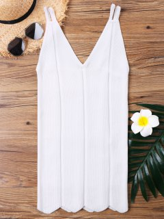 Strappy Knitted Long Tank Top - White