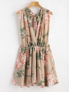 Backless Floral Belted Mini Dress - Apricot S