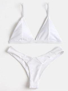 Padded Swim Bra And High Cut Thong Bottoms - White S