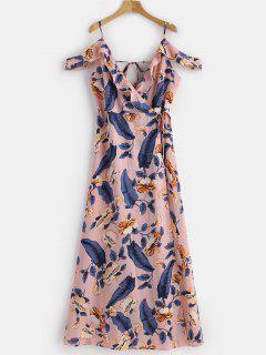 Wrap Ruffles Cold Shoulder Maxi Dress - Pink M
