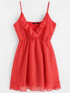 Polka Dot Mini Chiffon Slip Dress - Red M
