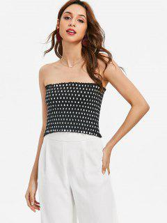 Smocked Polka Dot Tube Top - Black S