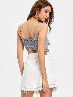 Smocked Back Tie Front Tank Top - Midnight Blue M