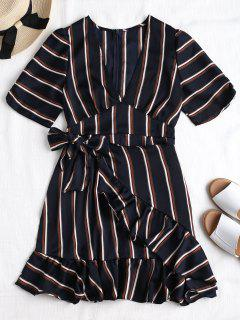 Back Zipper Striped Ruffles Mini Dress - Dark Slate Blue S