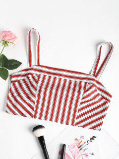Tied Bowknot Striped Top - Red Wine M
