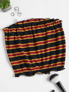 Striped Ribbed Knit Tube Top - Black S