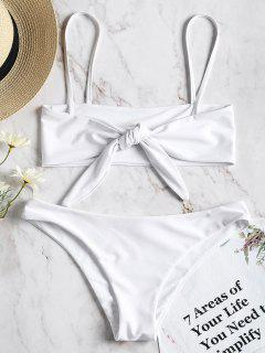 Reversible Bowtied Bralette Bikini Set - White L
