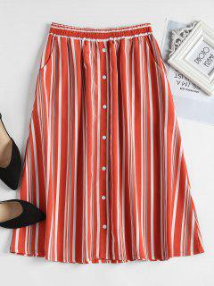 Button Embellished Striped Skirt - Orange M