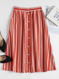 Button Embellished Striped Skirt - Orange S