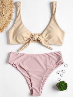 Vordere Schnürung Gepolstertes Bikini-Set - Cornsilch S