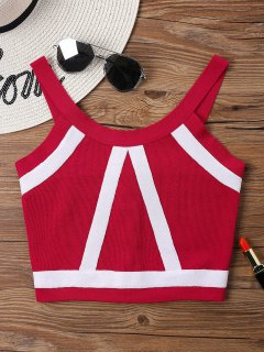 Knit Two Tone Crop Tank Top - Love Red
