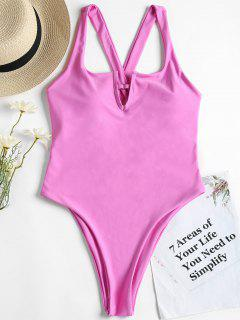 Cross Back High Leg One Piece Swimsuit - Hot Pink S