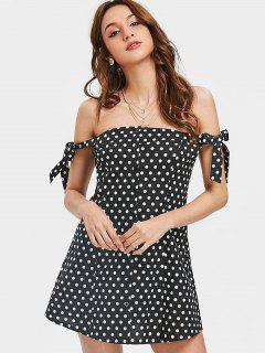 Polka Dot Off Shoulder Mini Dress - Black Xl