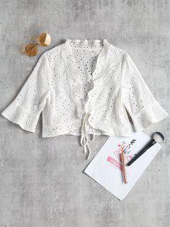 Ausgehöhlte Crop Bluse - Weiß L