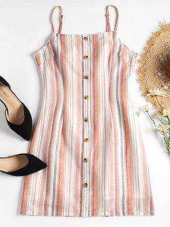 Vestido Cami De Espalda Abierta A Rayas - Rosa Claro L