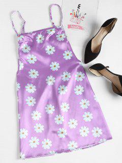 Floral Print Backless Slip Dress - Mauve S