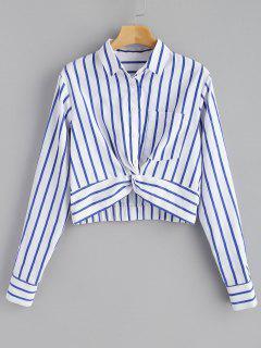 Striped Twist Front Crop Shirt - Navy Blue L