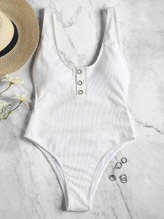 One Piece Ribbed Buttons High Cut Swimsuit - White L