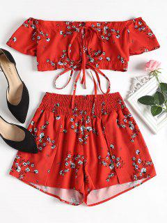 Off Shoulder Floral Top And Shorts Set - Red M