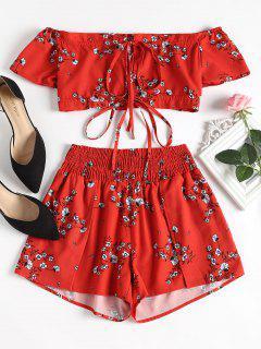 Off Shoulder Floral Top And Shorts Set - Red M