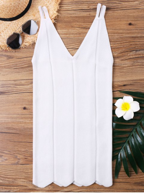 new Strappy Knitted Long Tank Top - WHITE ONE SIZE Mobile