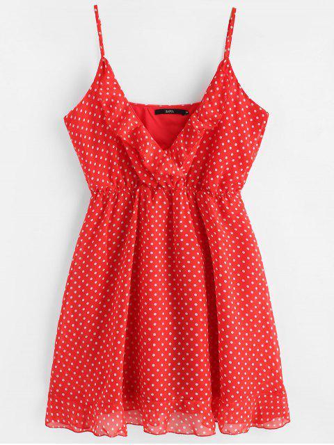 Mini-robe en Mousseline à Pois à Bretelles - Rouge L Mobile