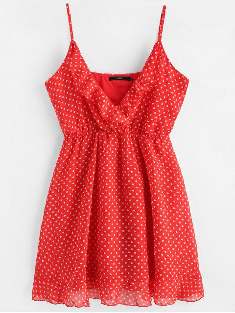 unique Polka Dot Mini Chiffon Slip Dress - RED XL Mobile