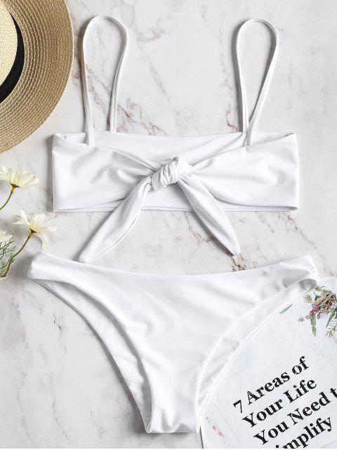 Zweiseitig Fliege Bralette Bikini Set - Weiß M Mobile
