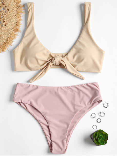 buy Tie Front Padded Bikini Set - CORNSILK S Mobile