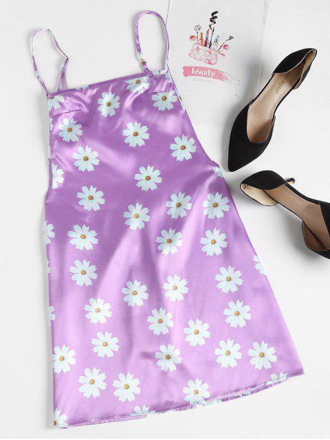 Vestido sin espalda con estampado floral - Color de malva L Mobile
