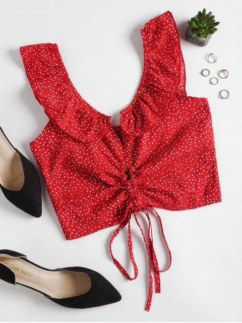 outfit Polka Dot Smocked Blouse - RED L Mobile