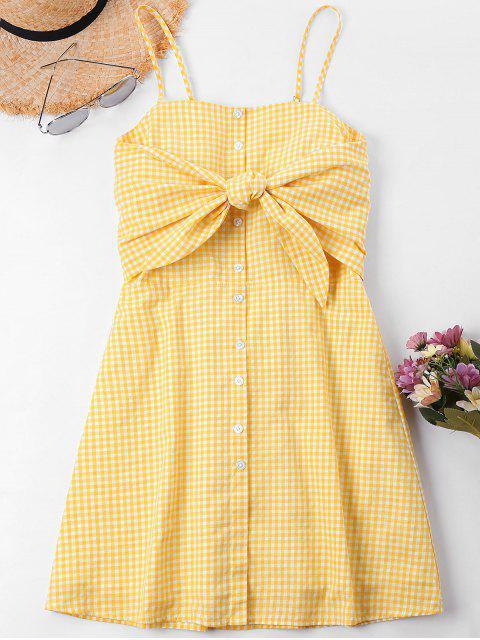 Knoten Karierter Cami Kleid - Biene Gelb L Mobile