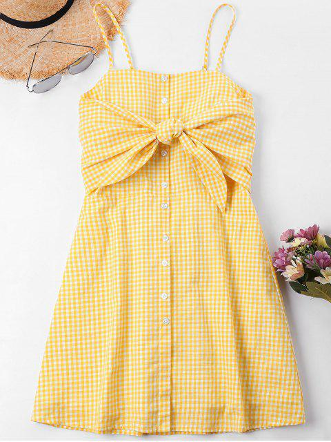 trendy Knot Gingham Cami Dress - BEE YELLOW XL Mobile
