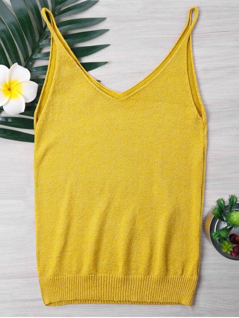 best Knit Spaghetti Strap Tank Top - BEE YELLOW ONE SIZE Mobile
