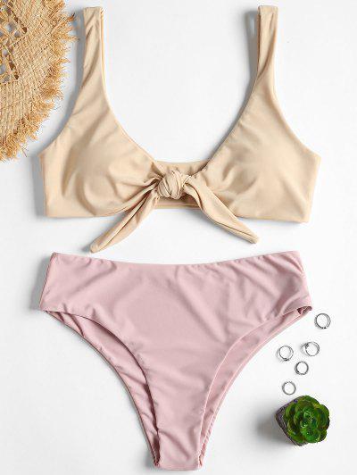 a046ea15ed611 Tie Front Padded Bikini Set - Cornsilk S
