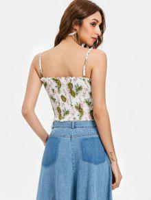 Cami Floral Con Top L Sin Blanco Estampado Mangas EXCnx8Awq