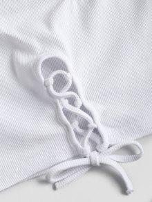 Blanco Top Sin S Con Cordones Mangas xx7wqFC
