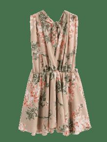 Floral Cintur Sin Con Mini L Vestido 243;n Respaldo Albaricoque qCEwnRInv