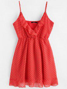 فستان البولكا نقطة مصغر شيفون - أحمر M