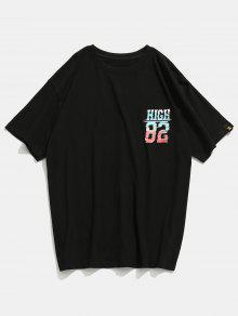 Negro Corta De Estampada Manga Camiseta M EdIqxS4Swt