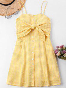 عقدة Gingham كامي اللباس - نحلة صفراء M