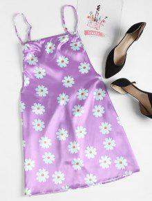 Estampado Color Malva De Con S Espalda Sin Floral Vestido q4p1A1