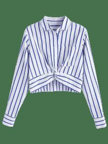 Twist Rayas Con Delantera Marino De Parte M La Corta Azul En Camisa qUwEE8
