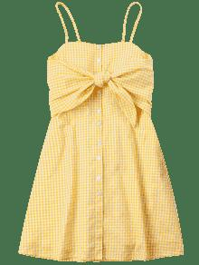 Abeja De Amarilla Con Camisero M Nudosas Vestido Mangas q47CY14x