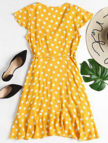 16c2c599a4286 33% OFF  2019 Ruffles Wrap Polka Dot Mini Dress In BRIGHT YELLOW