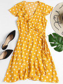 فستان مصغر لف البولكا نقطة كشكش - أصفر فاقع M
