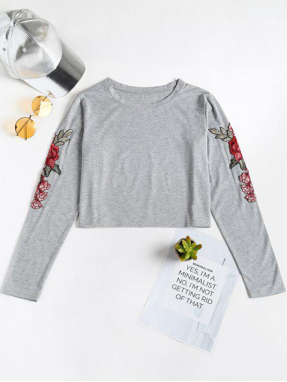 69383c09e8 Floral Appliques Long Sleeve Tee